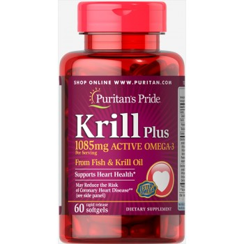 Puritan`s Pride Krill Plus Active Omega 3 1085 mg 60 sofltgels
