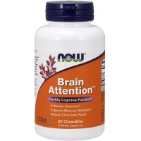 Now Brain Attention, Natural Chocolate Flavor 60 chewables