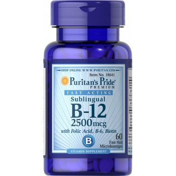 Puritan`s Pride B-12 2500 mcg Sublingual 60 caps